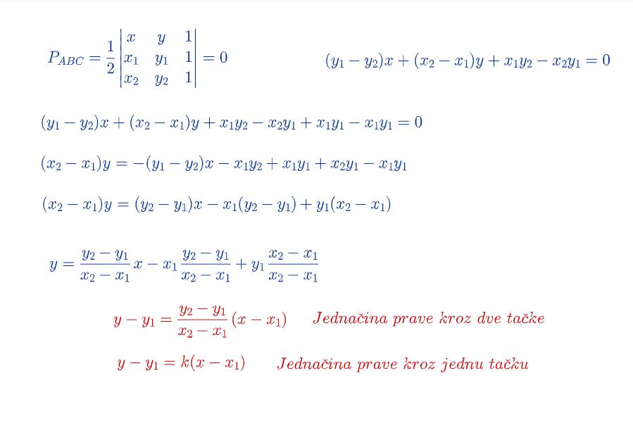 Jednačina prave kroz jednu i dve tačke